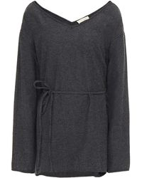 American Vintage Belted Mélange Cotton-blend Twill Top - Grey