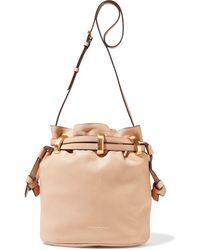 Donna Karan Virginia Pebbled-leather Bucket Bag Neutral - Multicolour