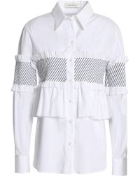 Cedric Charlier - Ruffle-trimmed Shirred Cotton-blend Poplin Shirt - Lyst