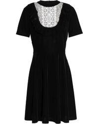 Sachin & Babi - Lace-paneled Velvet Mini Dress - Lyst