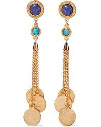 Ben-Amun 24-karat Gold-plated, Turquoise And Stone Earrings Gold - Metallic