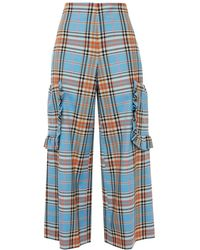 Vivetta Cropped Ruffle-trimmed Checked Twill Wide-leg Pants Sky Blue