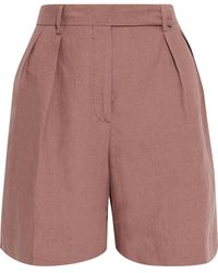 Paul Smith Pleated Linen Shorts - Pink