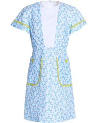 Delpozo - Embroidered Cotton-gauze Mini Dress - Lyst