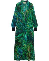 Elie Saab Printed Silk-blend Georgette Jacket Green