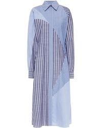Cedric Charlier Hemdkleid In Midilänge Aus Chambray Und Popeline Aus Einer Baumwollmischung In Patchwork-optik - Blau