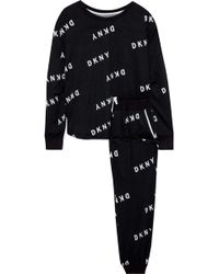 DKNY - Woman Self Titled Printed French Terry Pyjama Set Black - Lyst