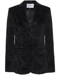 FRAME Snake-print Cotton-blend Velvet Blazer Black