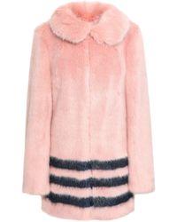 Shrimps Striped Faux Fur Coat Pastel Pink