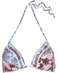Jets by Jessika Allen - Poetic Crochet-trimmed Printed Triangle Bikini Top Sky Blue - Lyst
