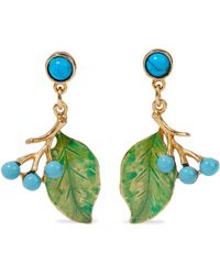 Ben-Amun 24-karat Gold-plated, Stone And Enamel Earrings Turquoise - Multicolour