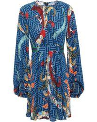 Stella Jean Belted Gathered Crepe De Chine Mini Dress - Blue