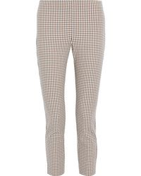 Theory Cropped Checked Cotton-blend Skinny Pants - White