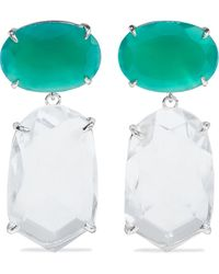 Bounkit Rhodium-plated, Green Onyx And Quartz Earrings