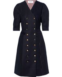 Thom Browne Double-breasted Silk-twill And Pinstriped Wool Dress Navy - Blue