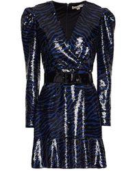 MICHAEL Michael Kors Belted Sequined Crepe Mini Dress - Black