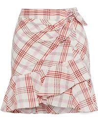 Veronica Beard Kaia Embroidered Checked Cotton-blend Mini Skirt Multicolor