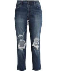 J Brand - Starstruck Cropped Distressed Mid-rise Slim-leg Jeans - Lyst