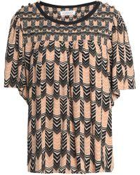Velvet By Graham & Spencer - Woman Printed Crepe Top Dark Brown - Lyst