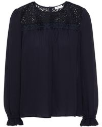 Claudie Pierlot Bambin Floral-appliquéd Corded Lace And Crepe De Chine Blouse Midnight Blue