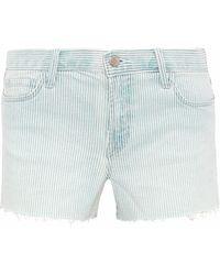 J Brand - Frayed Striped Denim Shorts - Lyst