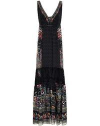 Camilla Lace-paneled Crystal-embellished Printed Chiffon Maxi Dress - Black