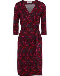 Diane von Furstenberg New Julian Two Polka-dot Silk-jersey Wrap Dress Burgundy - Red