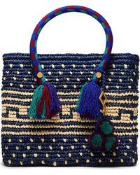 Yosuzi Kaena Tasseled Woven Straw Tote Royal Blue
