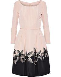 Carolina Herrera Embellished Pleated Silk-faille Dress - Multicolour
