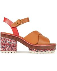 Tory Burch Braided Cord And Leather Platform Sandals Light Brown