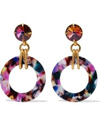 Elizabeth Cole 24-karat Gold-plated, Swarovski Crystal And Acetate Earrings Purple