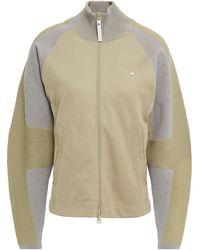 adidas By Stella McCartney Panelled Cotton-blend Jacket Sage Green