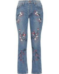 Bliss and Mischief | Sweet Jam Embroidered High-rise Straight-leg Jeans | Lyst