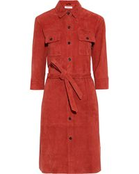 FRAME Belted Suede Shirt Dress Brick - Red