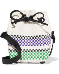 Truss - Leather-trimmed Striped Basketweave Bucket Bag - Lyst