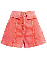 Ulla Johnson Kase Washed-denim Shorts - Pink
