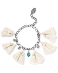 Chan Luu - Tasselled Silver And Turquoise Bracelet - Lyst