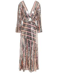 RIXO London Tyra Striped Sequined Chiffon Midi Dress - Multicolour