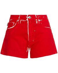 Love Moschino Jeansshorts Mit Print - Rot