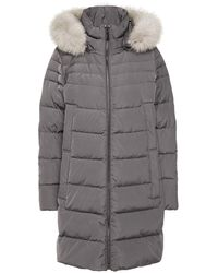DKNY Faux Fur-trimmed Quilted Shell Hooded Coat Anthracite - Grey