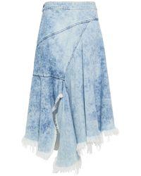 Marques'Almeida Asymmetric Frayed Bleached Denim Midi Wrap Skirt Light Denim - Blue