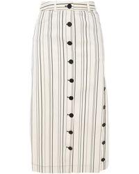 Altuzarra Striped Cotton-twill Midi Skirt Ivory - White