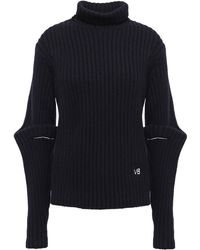Victoria Beckham Embroidered Ribbed Wool Turtleneck Sweater Midnight Blue