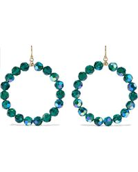 Chan Luu 18-karat Gold-plated Sterling Silver Crystal Hoop Earrings Emerald - Green