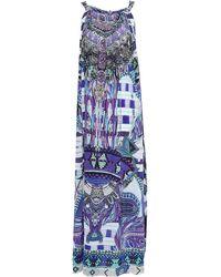 Camilla Ritual Rhapsody Embellished Printed Silk Crepe De Chine Maxi Dress Royal Blue