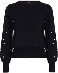 Raoul - Faux Pearl-embellished Cotton-blend Jumper - Lyst