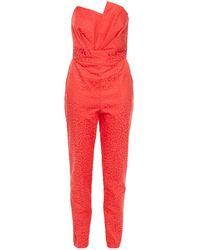 Michelle Mason Strapless Pleated Cotton-blend Leopard-jacquard Jumpsuit Tomato Red