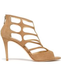 Jimmy Choo Ren 90 Cutout Suede Sandals Sand - Natural