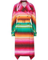 Valentino Asymmetric Striped Duchesse Silk-satin Trench Coat Multicolour