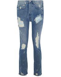 OAK - Distressed Mid-rise Slim-leg Jeans - Lyst